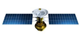 Δορυφόρος που απομονώνεται στο άσπρο υπόβαθρο Ρεαλιστικός δορυφόρος τρισδιάστατος δώστε satelit την απεικόνιση διανυσματική απεικόνιση