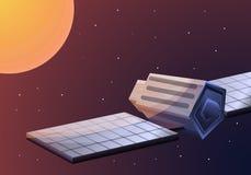 Δορυφόρος στο διαστημικό έμβλημα έννοιας, ύφος κινούμενων σχεδίων απεικόνιση αποθεμάτων