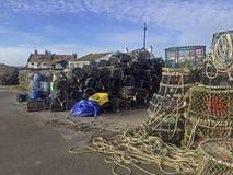 Δοχεία αστακών στην αποβάθρα Christchurch Mudeford Στοκ Φωτογραφίες