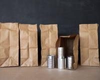 Δοχεία και καφετιές τσάντες Στοκ φωτογραφία με δικαίωμα ελεύθερης χρήσης