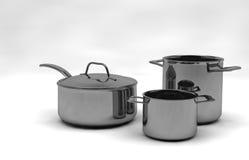 Δοχεία και τηγάνια χάλυβα Στοκ φωτογραφίες με δικαίωμα ελεύθερης χρήσης