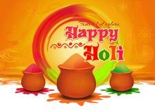 Δοχεία με ζωηρόχρωμο gulaal, χρώμα σκονών για το φεστιβάλ των χρωμάτων ευτυχές Holi Ευτυχής ευχετήρια κάρτα Holi Στοκ Εικόνες
