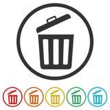 Δοχείο απορριμμάτων ή εικονίδιο συμβόλων δοχείων απορριμμάτων, 6 χρώματα συμπεριλαμβανόμενα Στοκ Φωτογραφίες