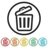 Δοχείο απορριμμάτων ή εικονίδιο συμβόλων δοχείων απορριμμάτων, 6 χρώματα συμπεριλαμβανόμενα Στοκ φωτογραφία με δικαίωμα ελεύθερης χρήσης