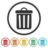 Δοχείο απορριμμάτων ή εικονίδιο συμβόλων δοχείων απορριμμάτων, 6 χρώματα συμπεριλαμβανόμενα Στοκ Εικόνα