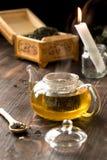 Δοχείο γυαλιού με το πράσινο τσάι Στοκ φωτογραφίες με δικαίωμα ελεύθερης χρήσης