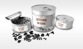 Δοχείο κασσίτερου με τα γράμματα της αλφαβήτου μέσα Στοκ εικόνα με δικαίωμα ελεύθερης χρήσης