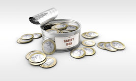 Δοχείο κασσίτερου με τα νομίσματα μέσα Στοκ φωτογραφία με δικαίωμα ελεύθερης χρήσης