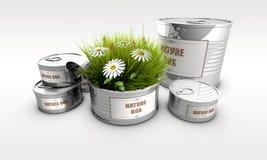 Δοχείο κασσίτερου με τη χλόη και το λουλούδι Στοκ εικόνα με δικαίωμα ελεύθερης χρήσης