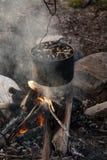 Δοχείο με τα μύδια που κρεμούν επάνω από την πυρκαγιά στρατοπέδευσης στοκ εικόνα με δικαίωμα ελεύθερης χρήσης