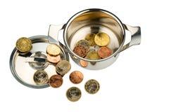 Δοχείο με τα νομίσματα Στοκ Εικόνα