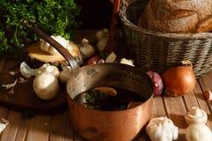Δοχείο της σούπας μανιταριών και των συστατικών Στοκ φωτογραφία με δικαίωμα ελεύθερης χρήσης