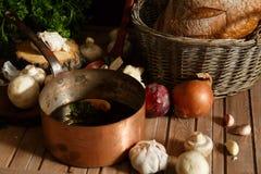 Δοχείο της σούπας μανιταριών και των συστατικών Στοκ φωτογραφίες με δικαίωμα ελεύθερης χρήσης