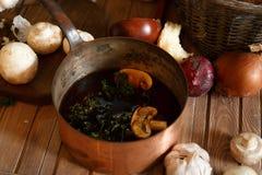 Δοχείο της σούπας μανιταριών και των συστατικών Στοκ Εικόνες