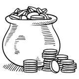 Δοχείο του χρυσού σκίτσου απεικόνιση αποθεμάτων