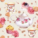 Δοχείο τσαγιού, φλυτζάνα τσαγιού, κέικ, λουλούδια Επανάληψη teatime του σχεδίου watercolour Στοκ Εικόνα