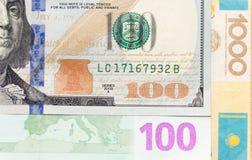 Δολάρια, ευρώ και TENGE ως υπόβαθρο Στοκ φωτογραφίες με δικαίωμα ελεύθερης χρήσης