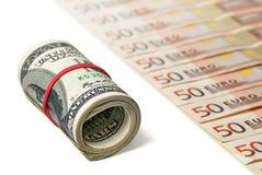 Δολάρια και ευρώ Στοκ Φωτογραφία