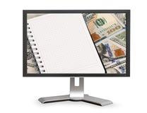 Δολάρια και σημειωματάριο με το διάστημα αντιγράφων Στοκ Εικόνες