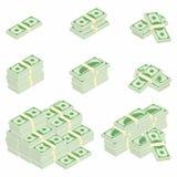 Δολάρια Συσκευασίες των τραπεζογραμματίων στις διάφορες γωνίες Διαφορετικοί σωροί και σωροί των μετρητών απεικόνιση αποθεμάτων