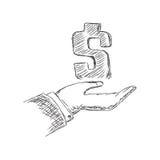 Δολάριο εκμετάλλευσης χεριών, σκίτσο, διάνυσμα, απεικόνιση Στοκ εικόνες με δικαίωμα ελεύθερης χρήσης
