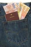 Δολάριο διαβατηρίων και Χονγκ Κονγκ στην τσέπη τζιν τζιν Στοκ Εικόνες