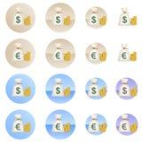 Δολάριο και ευρο- εικονίδια τσαντών χρημάτων στο διάνυσμα στοκ φωτογραφία με δικαίωμα ελεύθερης χρήσης