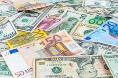 Δολάριο και ευρο- backgound Στοκ Εικόνες