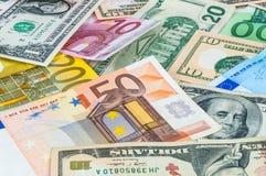 Δολάριο και ευρο- backgound Στοκ φωτογραφίες με δικαίωμα ελεύθερης χρήσης