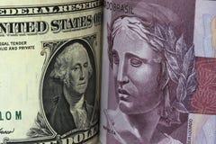 Δολάριο και πραγματικός Στοκ φωτογραφίες με δικαίωμα ελεύθερης χρήσης