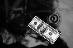 Δολάριο στην επιφάνεια νερού, μαύρο υπόβαθρο Στοκ εικόνα με δικαίωμα ελεύθερης χρήσης