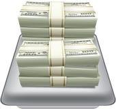 Δολάριο χρημάτων στο ασημένιο διάνυσμα δίσκων Στοκ εικόνα με δικαίωμα ελεύθερης χρήσης