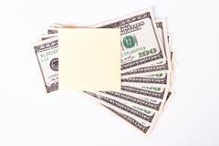 Δολάριο Bill και κολλώδης θέση Στοκ Φωτογραφίες