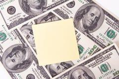 Δολάριο Bill και κολλώδης θέση Στοκ εικόνες με δικαίωμα ελεύθερης χρήσης
