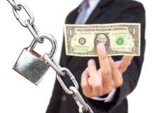 1 Δολ ΗΠΑ μια ασφάλεια εκμετάλλευσης επιχειρηματιών Στοκ Εικόνα