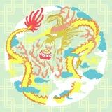 Δράκος με τα σύννεφα ελεύθερη απεικόνιση δικαιώματος