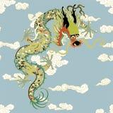 Δράκος με τα σύννεφα διανυσματική απεικόνιση