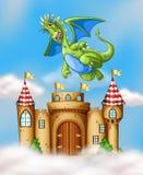 Δράκος που πετά πέρα από το κάστρο διανυσματική απεικόνιση