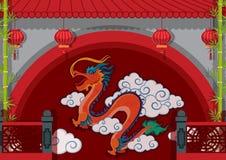 Δράκος που χρωματίζεται στον τοίχο διανυσματική απεικόνιση