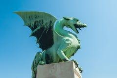 Δράκος του Λουμπλιάνα, σύμβολο πόλεων, Σλοβενία Στοκ φωτογραφία με δικαίωμα ελεύθερης χρήσης