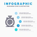 Δράση, κύκλος, ροή, απευθείας, αργό εικονίδιο γραμμών με το υπόβαθρο infographics παρουσίασης 5 βημάτων απεικόνιση αποθεμάτων
