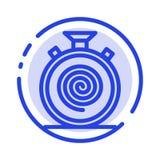 Δράση, κύκλος, ροή, απευθείας, αργό μπλε εικονίδιο γραμμών διαστιγμένων γραμμών απεικόνιση αποθεμάτων