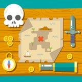 Δράση χαρτών παιχνιδιών RPG περιπέτειας θησαυρών πειρατών απεικόνιση αποθεμάτων
