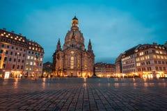 23 01 2018 Δρέσδη, Γερμανία - η πλατεία Neumarkt και η εκκλησία Frauenkirche της κυρίας μας σε Dre Στοκ Φωτογραφία