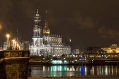 Δρέσδη τη νύχτα Στοκ εικόνες με δικαίωμα ελεύθερης χρήσης