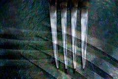 Δραματική εικόνα του επιτραπέζιου δικράνου που τίθεται στο κατασκευασμένο κλίμα Στοκ Εικόνες