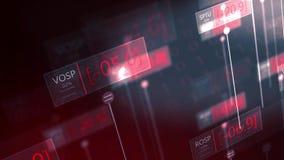 Δραματικοί φουτουριστικοί κόκκινοι αριθμοί χρηματιστηρίου που πέφτουν - αποτυχούσα έννοια V2 οικονομίας φιλμ μικρού μήκους