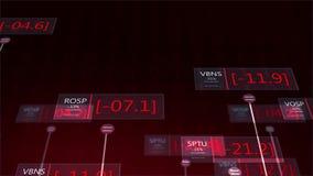 Δραματικοί φουτουριστικοί κόκκινοι αριθμοί χρηματιστηρίου που πέφτουν - αποτυχούσα έννοια V3 οικονομίας απόθεμα βίντεο