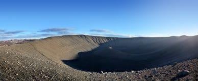 Δραματικός μαύρος κρατήρας Hverfjall Ισλανδία Στοκ Εικόνες