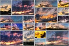 Δραματικό ηλιοβασίλεμα όπως την πυρκαγιά στον ουρανό με το χρυσό κολάζ σύννεφων Στοκ φωτογραφία με δικαίωμα ελεύθερης χρήσης